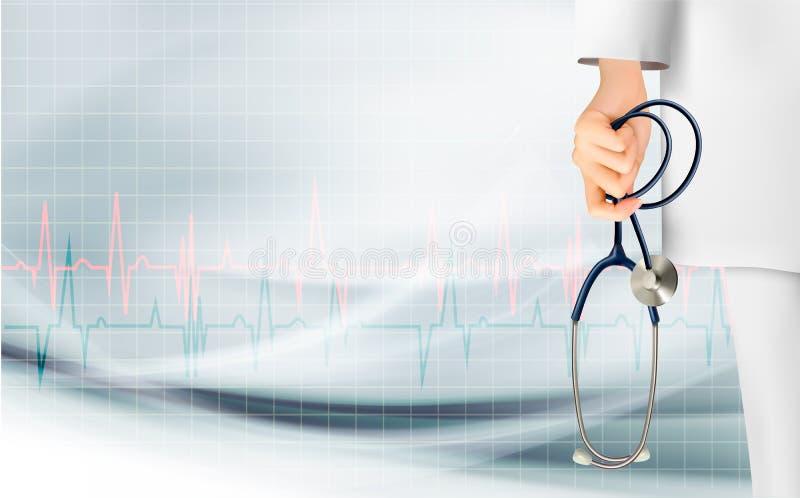 Medicinsk bakgrund med handen som rymmer en stetoskop stock illustrationer