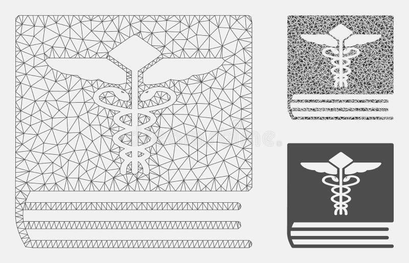 Medicinsk bokvektor Mesh Carcass Model och mosaisk symbol för triangel vektor illustrationer