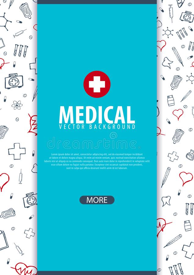 Medicinsk broschyrdesignmall Reklamblad med inline medicinsymboler, modernt Infographic begrepp för årsrapport vektor vektor illustrationer