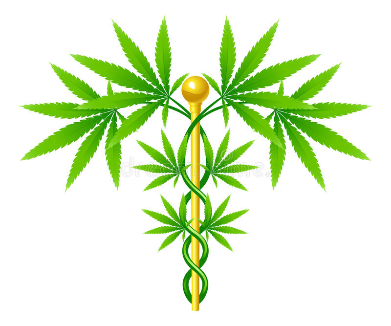 Medicinsk Caduceus för marijuanaväxt royaltyfri illustrationer