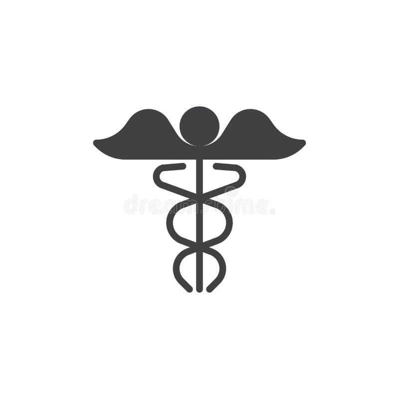 Medicinsk caduceussymbolsvektor stock illustrationer