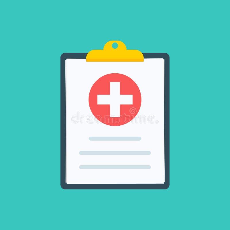 Medicinsk Clipboard Det kliniska rekordet, receptet, reklamation, medicinska kontrollfläckar anmäler, sjukförsäkringbegrepp högvä stock illustrationer