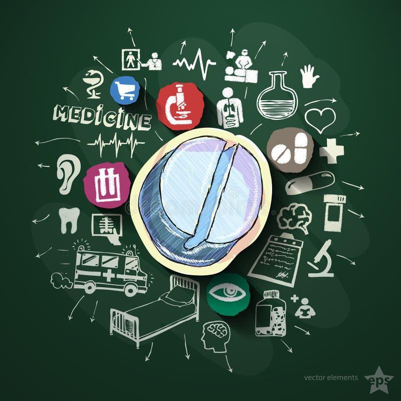 Medicinsk collage med symboler på svart tavla vektor illustrationer