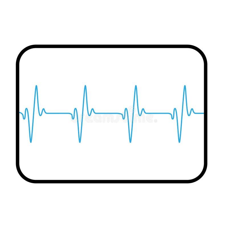Medicinsk datorskärm som visar den blåa cardio linjen stock illustrationer