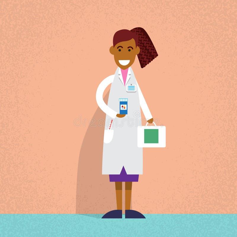 Medicinsk doktor Holding Medicine Chest för afrikansk amerikan stock illustrationer