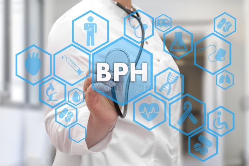 Medicinsk doktor och BPH, godartade Prostatic Hyperplasiaord i mig royaltyfri foto