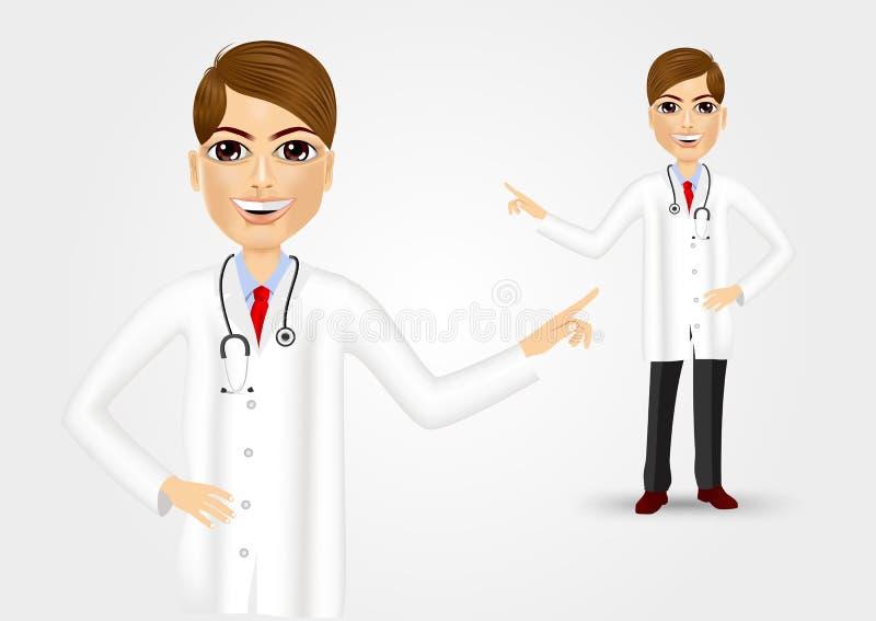 Medicinsk doktor som pekar på något vektor illustrationer