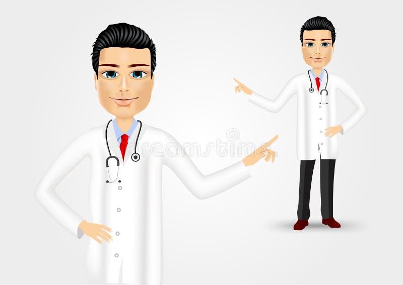 Medicinsk doktor som pekar på något royaltyfri illustrationer