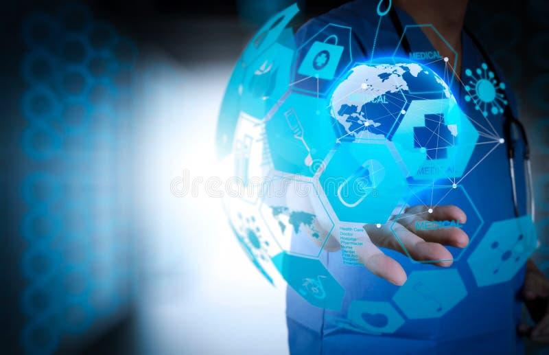 Medicinsk doktor som rymmer ett världsjordklot i hans händer som läkarundersökning netto vektor illustrationer