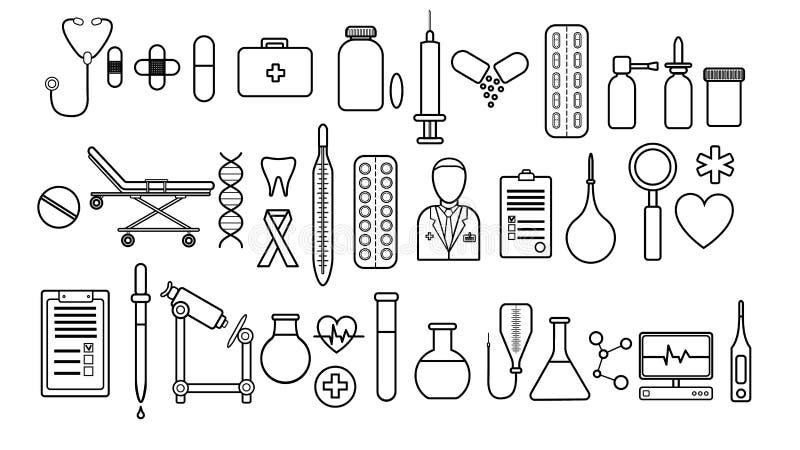 Medicinsk farmaceutisk stor uppsättning av medicinska objekt av enkla svartvita symboler en vit bakgrund: piller termometrar, dok royaltyfri illustrationer