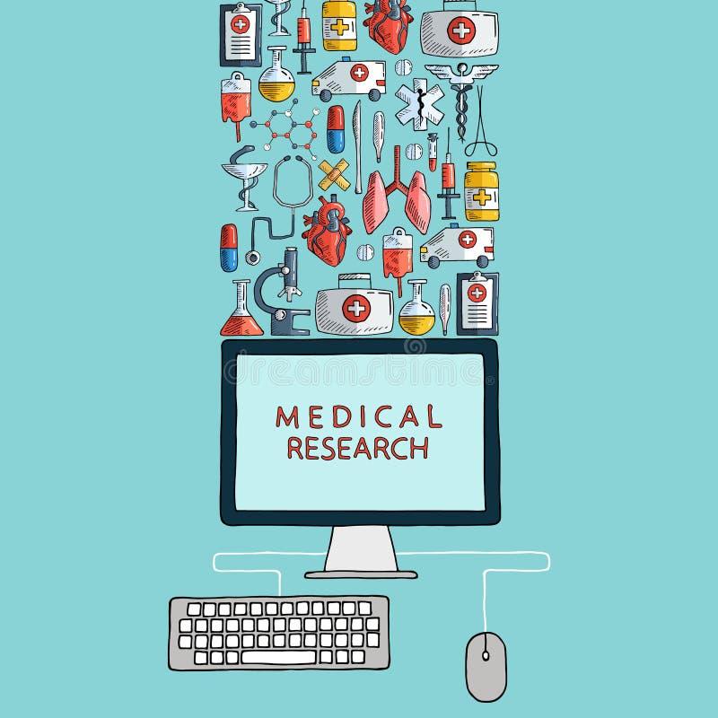 medicinsk forskning Räcka utdragna hälsovård- och medicinsymboler med den skrivbords- datoren stock illustrationer