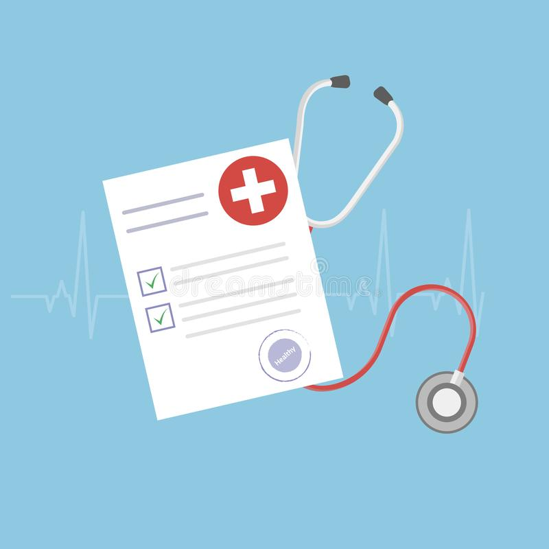 Medicinsk forskningrapport eller avtalsvektor, plant hälso- eller sjukdomshistoriapapper eller försäkringdokument på arbetsskrivb stock illustrationer