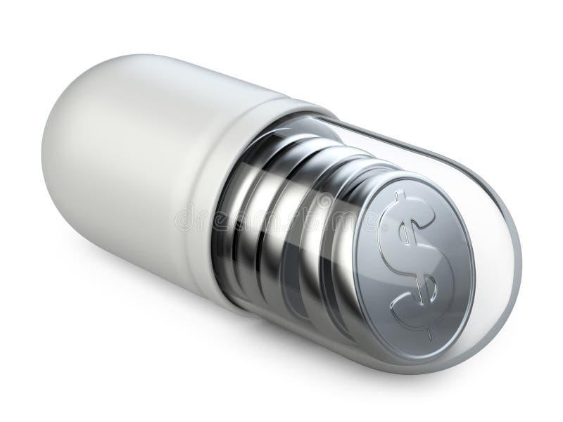 Medicinsk genomskinlig kapsel med silvermynt fotografering för bildbyråer