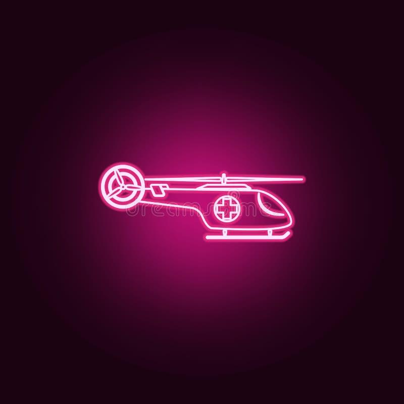 medicinsk helikoptersymbol Beståndsdelar av medicin i neonstilsymboler Enkel symbol för websites, rengöringsdukdesign, mobil app, royaltyfri illustrationer