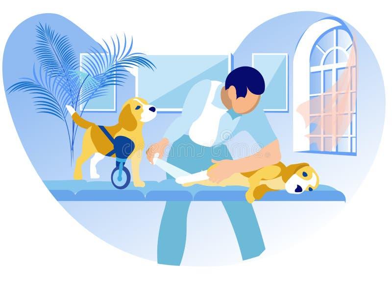 Medicinsk hjälp för djur med handikapp stock illustrationer