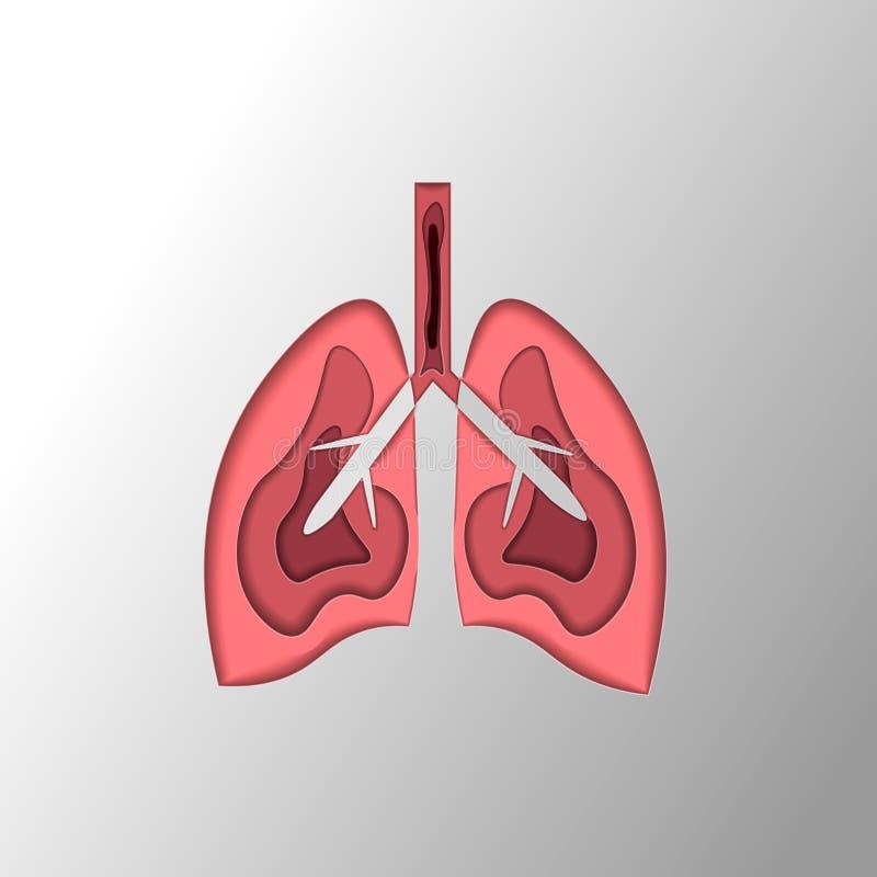 Medicinsk illustration av lungorna och lungsjukdomen i stilen av papperssnittet vektor illustrationer