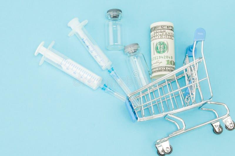 Medicinsk injektion och dollar, i att shoppa sp?rvagnen p? bl? bakgrund Id?rik id? f?r h?lsov?rdkostnad, apotek, h?lsa arkivfoton