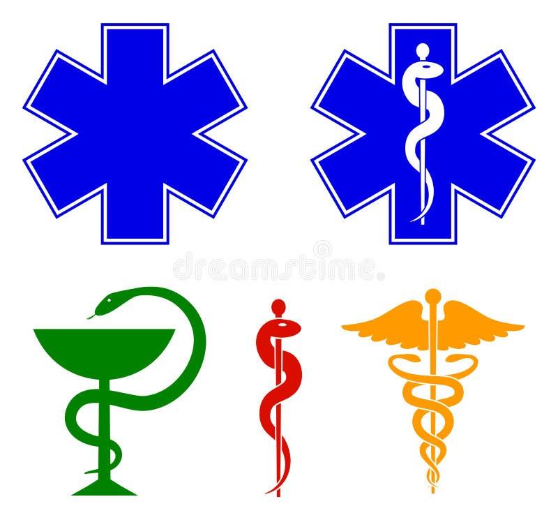 Medicinsk internationell symboluppsättning Stjärna av liv, personal av Asclepius, caduceus, bunke med en orm vektor stock illustrationer