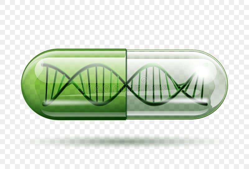 Medicinsk kapsel med en DNAmolekyl stock illustrationer