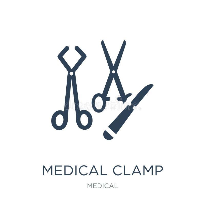 medicinsk klämmasymbol i moderiktig designstil medicinsk klämmasymbol som isoleras på vit bakgrund medicinsk enkel klämmavektorsy royaltyfri illustrationer