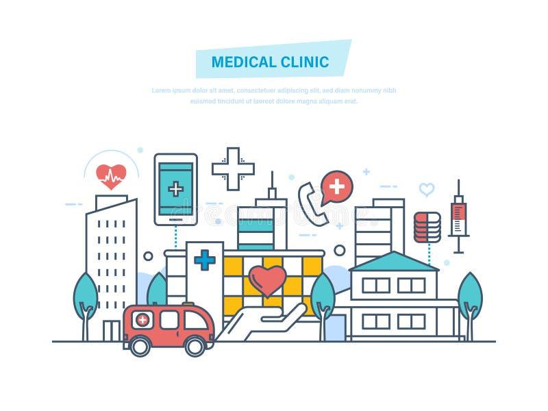 Medicinsk klinik, stadssjukhusbyggnad, vårdsystem och läkarundersökninglätthet stock illustrationer