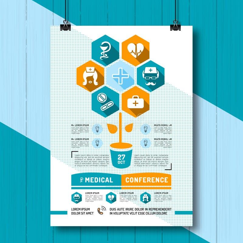 Medicinsk konferensaffisch för vektor, plan infographicssymbolsmedicin och hälsa stock illustrationer