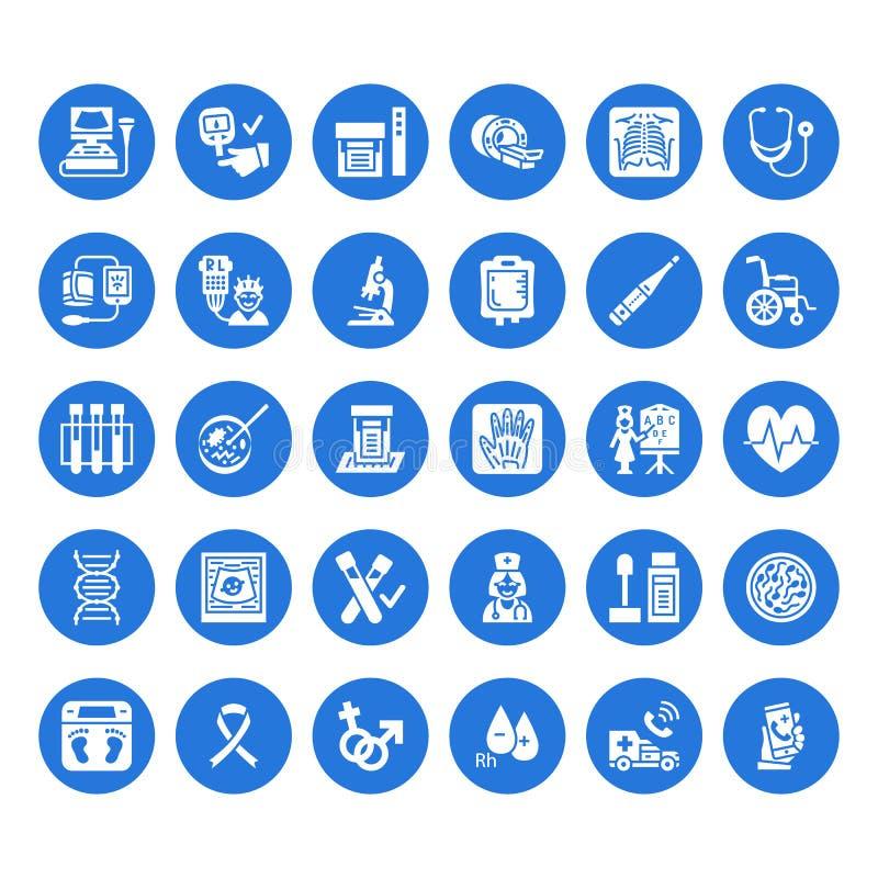 Medicinsk kontroll upp, plana skårasymboler Vård- diagnostikutrustning - mri, tomography, glucometer, stetoskop, blod royaltyfri illustrationer