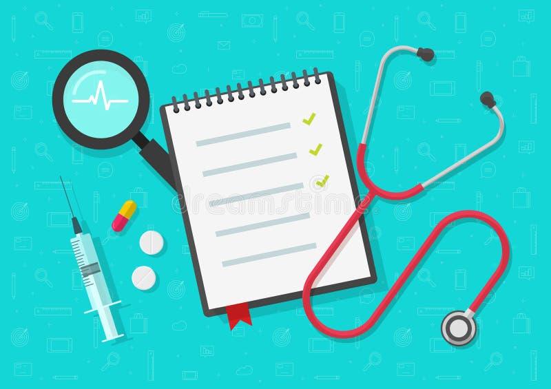 Medicinsk kontrollistavektor, plan hälsa eller medicinsk notepad eller anteckningsbokdokument på skrivbords- sikt för arbete med  vektor illustrationer