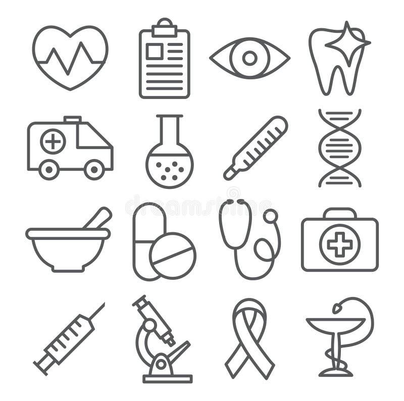 Medicinsk linje symboler royaltyfri illustrationer