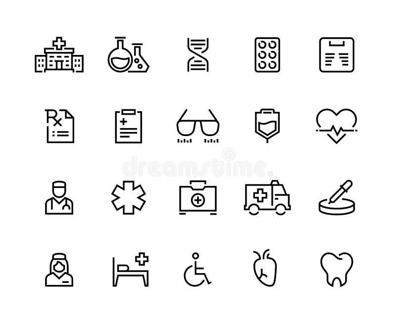 Medicinsk linje symboler Sjukhusomsorg, doktorsdiagnostik och patientförsäkring, nöd- medicin Tålmodig vård- vektor stock illustrationer