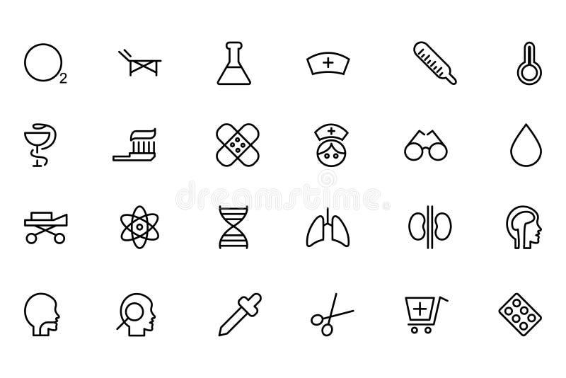 Medicinsk linje vektorsymboler 2 royaltyfri illustrationer