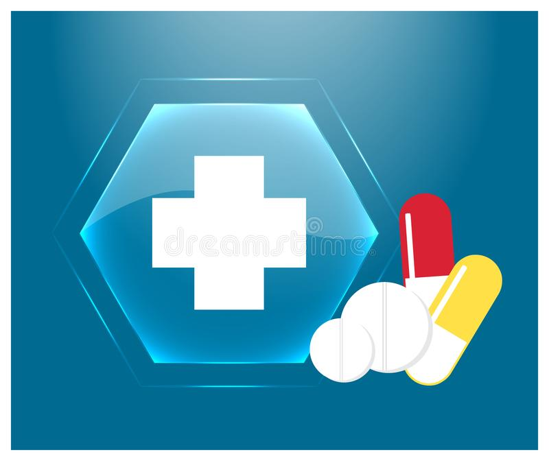 Medicinsk logo eller emblem av apoteket Blå glass knapp med c stock illustrationer