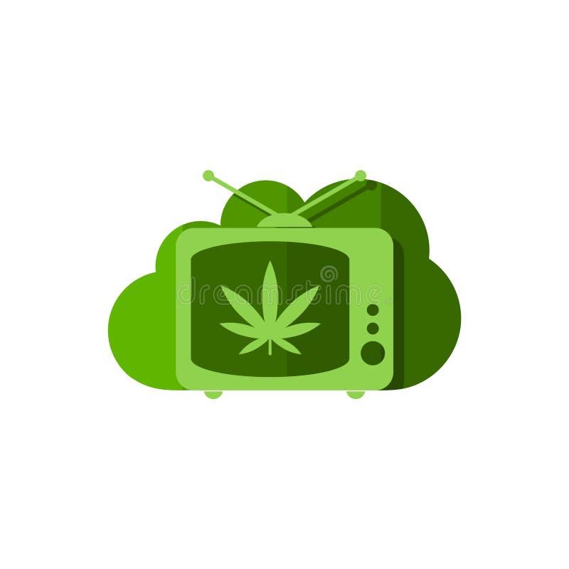 Medicinsk logo för marijuanacannabishampa, molnformsymbol royaltyfri illustrationer