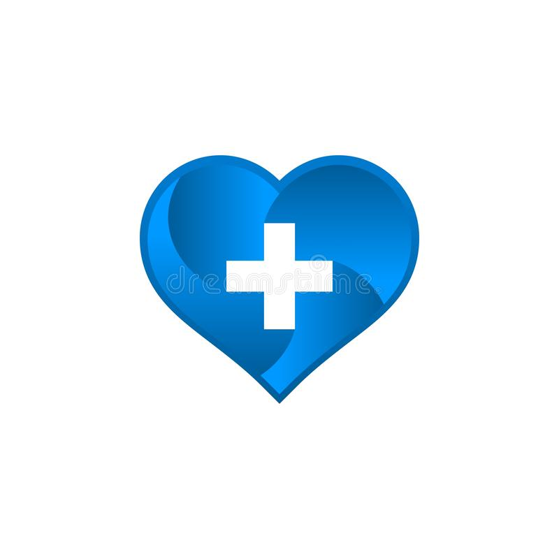 Medicinsk logo med förälskelseform stock illustrationer