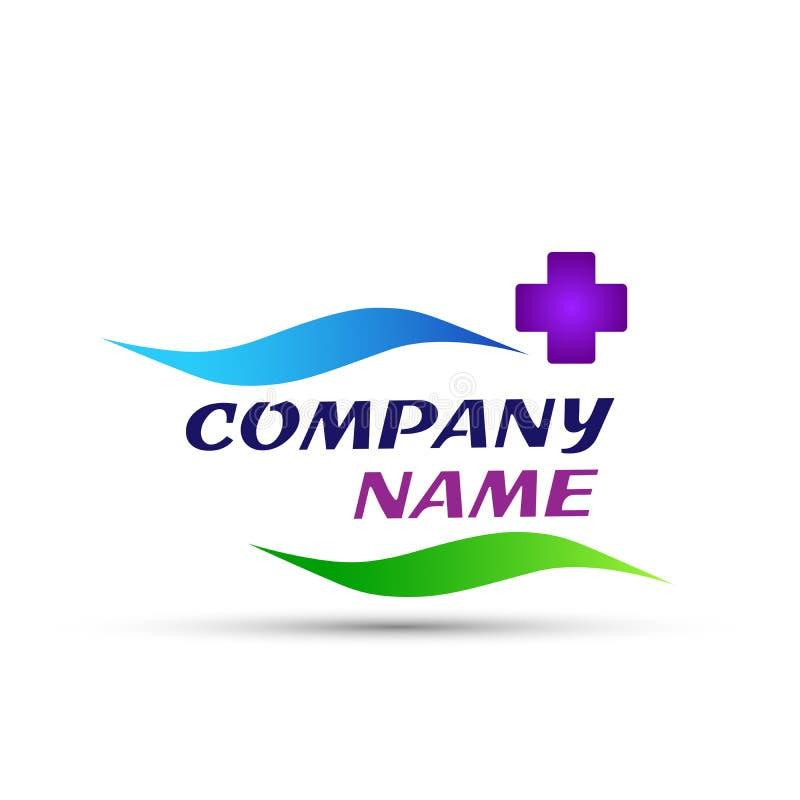 Medicinsk logosymbol för hälsovård på vit bakgrund stock illustrationer