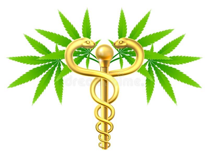 Medicinsk marijuanaCaduceus för cannabis stock illustrationer