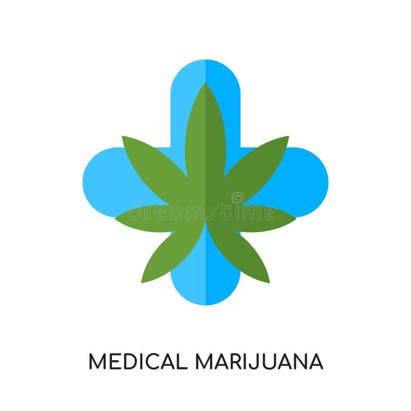 medicinsk marijuanalogo som isoleras på vit bakgrund för din rengöringsduk royaltyfri illustrationer