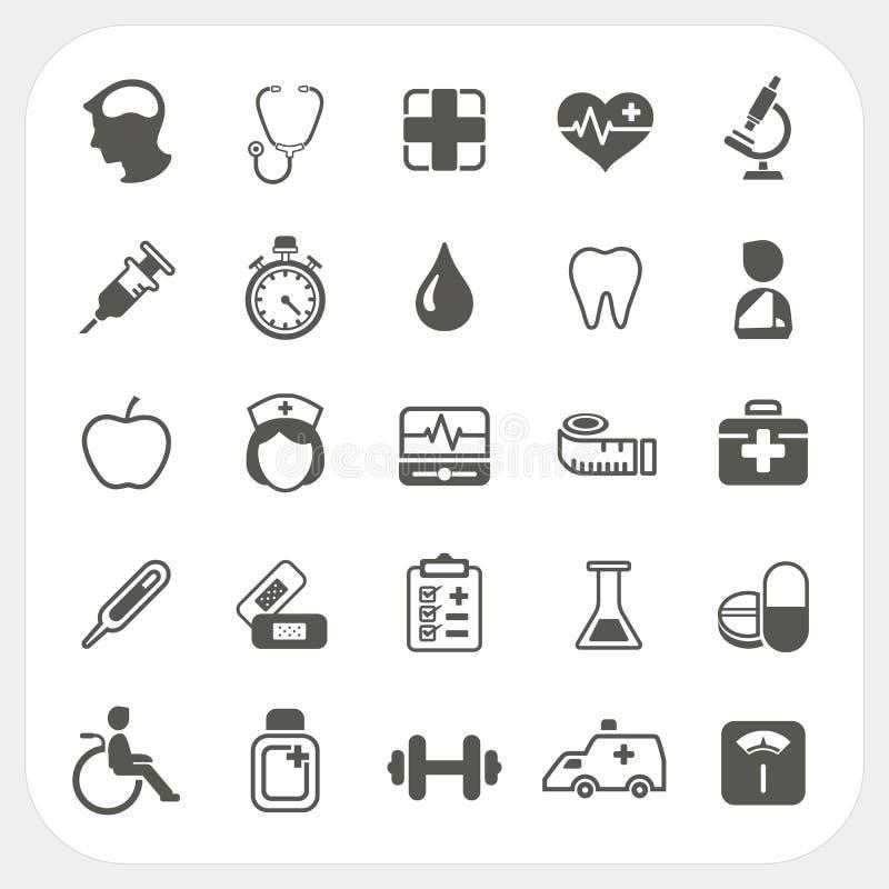 Medicinsk och vård- symbolsuppsättning vektor illustrationer