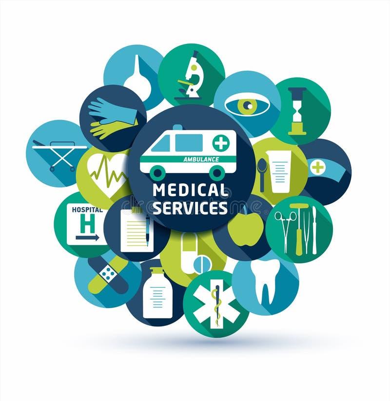 Medicinsk och vård- vektorillustration Uppsättning av den plana medicinska symbolen stock illustrationer
