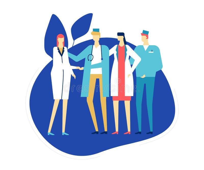 Medicinsk personal - färgrik plan designstilillustration stock illustrationer
