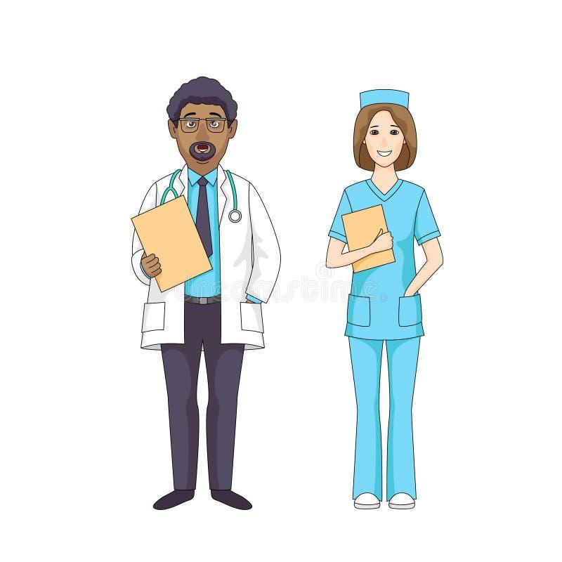 Medicinsk personal för sjukhus royaltyfri illustrationer