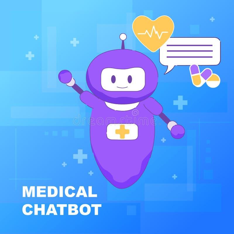 Medicinsk pratstundBot Online-konstgjord intelligens royaltyfri illustrationer