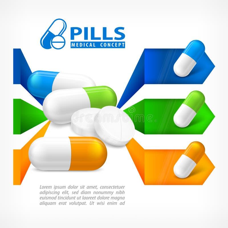 Medicinsk preventivpiller som är infographic på vit vektor illustrationer