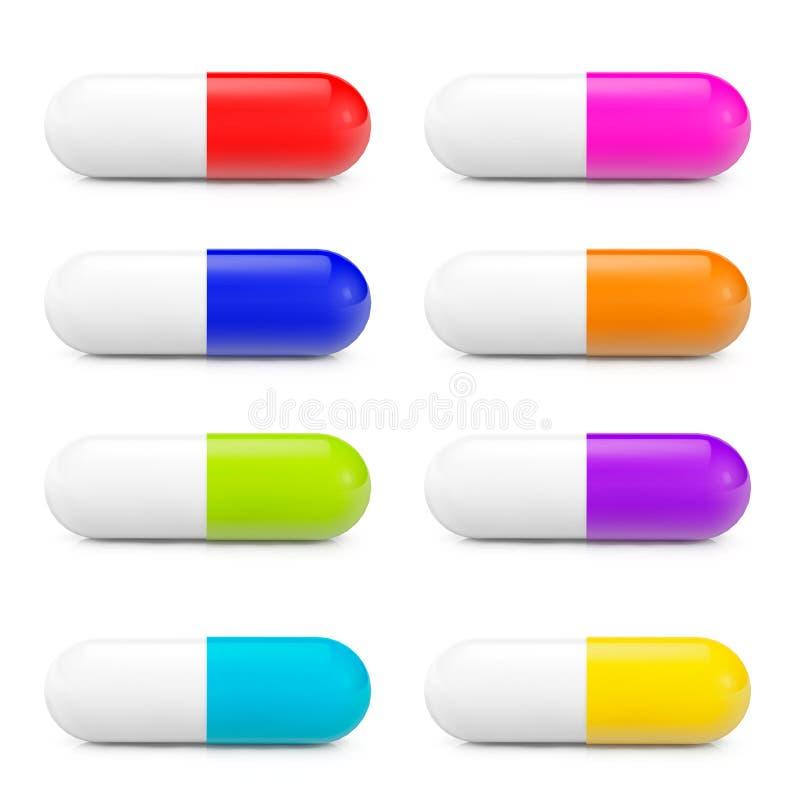 Medicinsk preventivpilleruppsättning för olika färger stock illustrationer