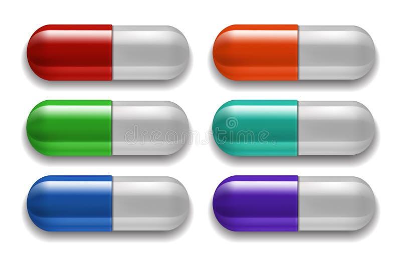 Medicinsk preventivpilleruppsättning, olika färger vektor illustrationer