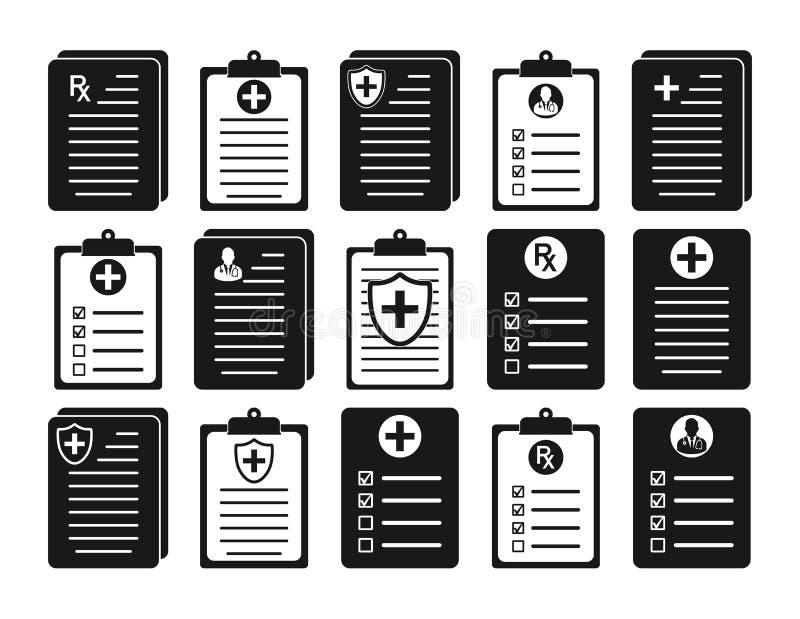 Medicinsk rapport och tålmodig rekord- symbolsuppsättning stock illustrationer