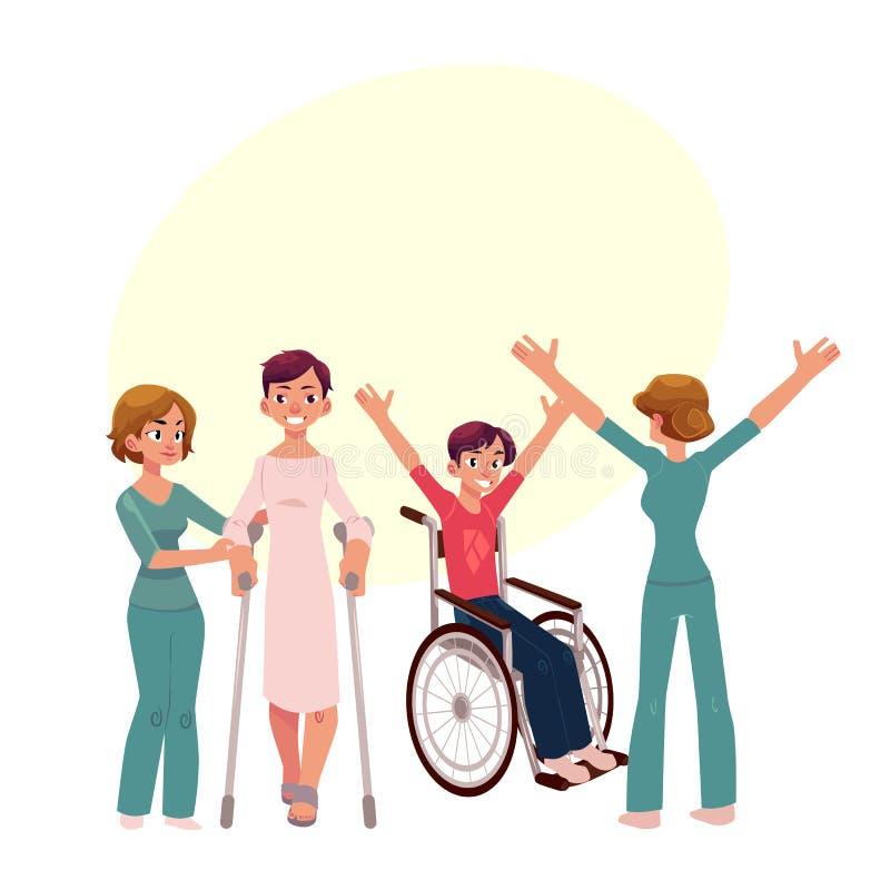 Medicinsk rehabilitering, sjukgymnastikaktiviteter, fysioterapeut som arbetar med patienter stock illustrationer