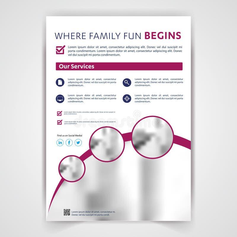 Medicinsk reklamblad för loppturismfastighet, broschyr, malldesign, företags identitet för affisch stock illustrationer