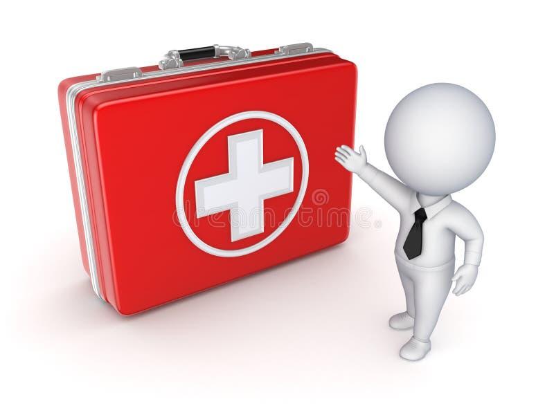Medicinsk resväska och liten person 3d. royaltyfri fotografi