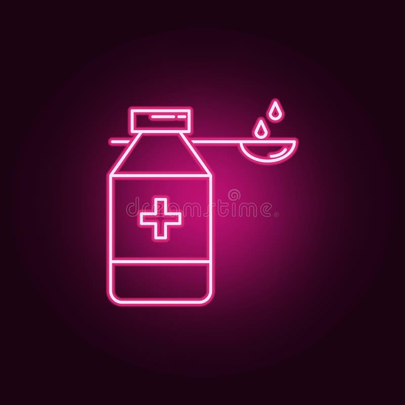Medicinsk sirap för njureneonsymbol Best?ndsdelar av Medecineupps?ttningen Enkel symbol f?r websites, reng?ringsdukdesign, mobil  royaltyfri illustrationer
